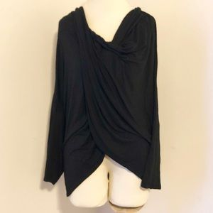 Ashley Stewart Black Wrap Style Long Sleeve Blouse